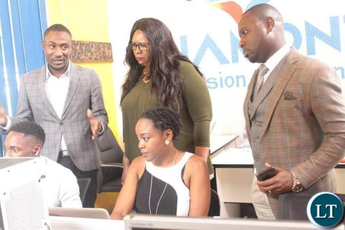 Information and Broadcasting Services Minister Dora Siliya touring Diamond TV