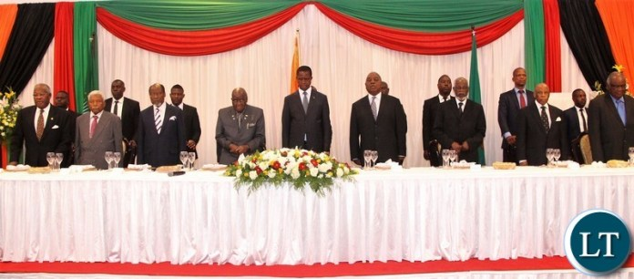 From left to right:  Malawi former president Bakili Muluzi, Tanzania former presiden Ali Hassan Mwinyi, , Chairperson of the Africa Forum former Mozambican President Joaquim Chissano, KK , president Edgar Lungu, Zambia former president Rupiah Banda, Namibia former president  Sam Nujoma, Botswana former president  Festus Mogae and Namibia's former President Hifikepunye Pohamba.