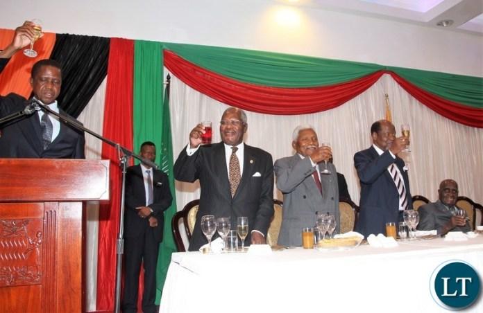 President Edgar Lungu proposing a toast.