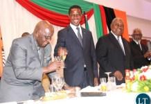 President Edgar Lungu proposing a toast to KK.