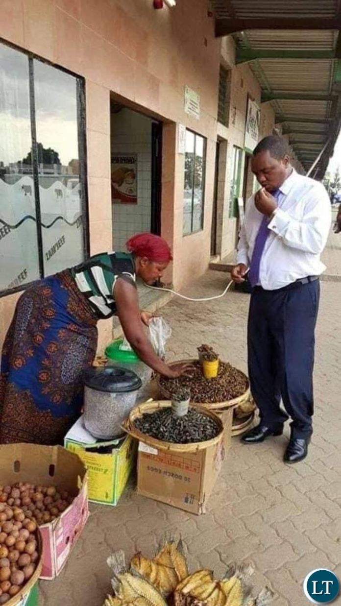 In contrast- Lusaka Mayor Miles Sampa has also been captured buying and eating food from the streets.