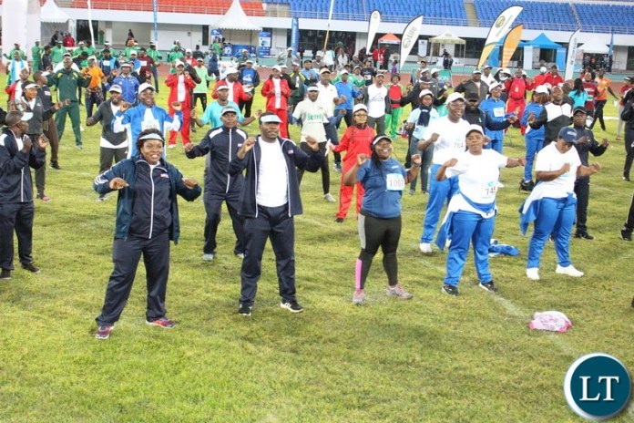 Aerobics time before the running by teams