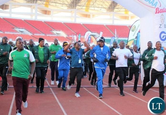 President Edgar Lungu on 10K finishing line.