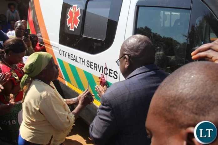 Health Minister of the Republic of Zambia, Hon. Dr. Chitalu Chilufya delivered an ambulance to the health centre
