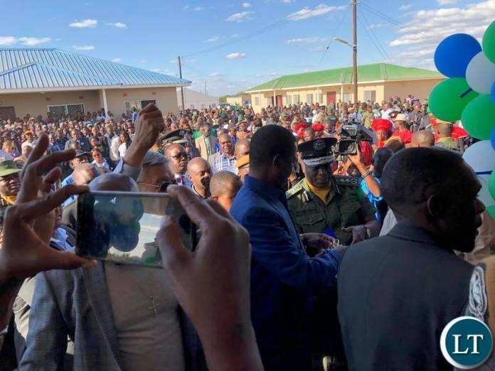 President Edgar Lungu commissioning  38 Housing Units for the Zambia Police Service under the Ministry of Home Affairs in Chibombo District, Central Province.