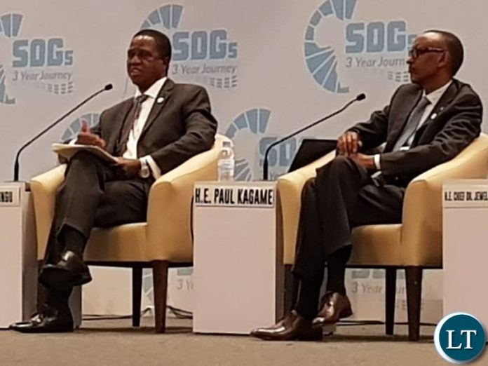 President Lungu  With President Paul Kagame  during a panel discussion