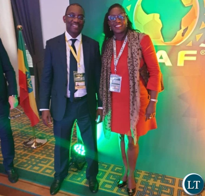FAZ President Andrew Kamanga with Monica Musonda at the CAF General Assembly