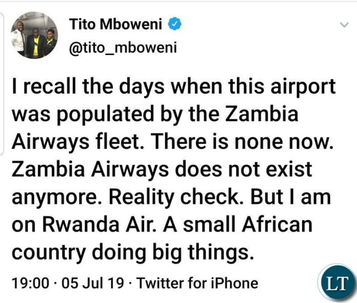 South Africa's Finance Minister Tito Mboweni's Tweet