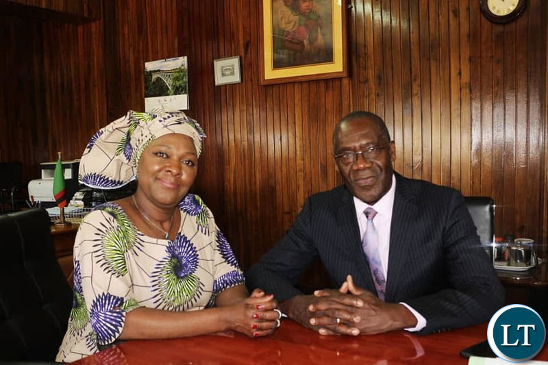 Former Minister of Finance Margaret Mwanakatwe during the hand over process to newly appointed Minister of Finance Dr. Bwalya Ng'andu.