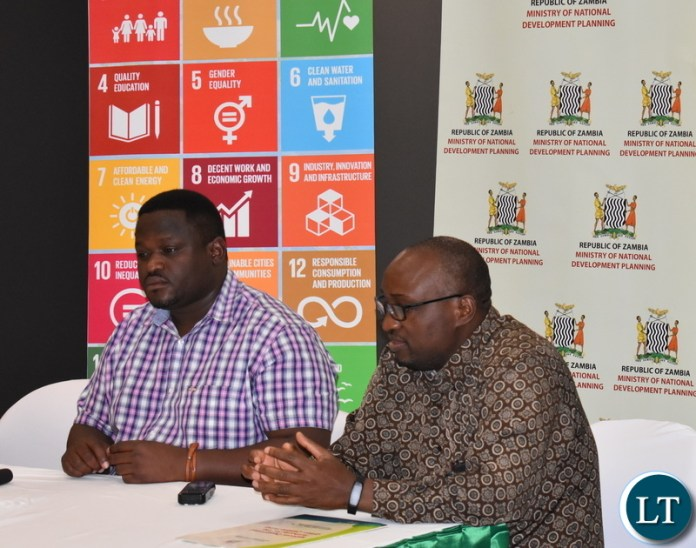 Minister of National Development Planning Hon. Alexander Chiteme addressing the media in Kitwe on Saturday 3 August 2019. On his left is Permanent Secretary (Development Planning) Chola Chabala. The Minister announced that the Sustainable Development Goals Sub-Regional Centre for Southern Africa to be based in Lusaka will be launched on Wednesday 7 August 2019. President Edgar Chagwa Lungu and President Paul Kagame of Rwanda will grace the launch. PHOTO | CHIBAULA D. SILWAMBA | MNDP
