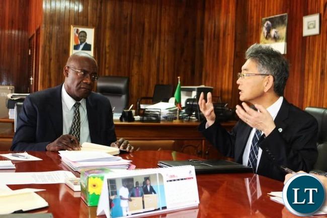 Japanese Ambassador to Zambia HIDENOBU SOBASHIMA with Finance Minister Bwalya Ng'andu at the Ministry of Finance headquarters in Lusaka