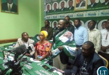 PF Deputy Secretary General Hon Mumbi Phiri welcoming former NAREP Spokesperson to PF