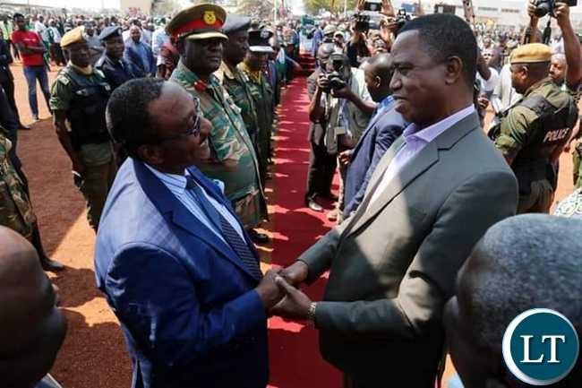 President Edgar Chagwa Lungu (right) greets Geoffrey Bwalya Mwamba (GBM) on arrival at Kasama Airport on Thursday,August 8,2019.PICTURE BY SALIM HENRY/STATE HOUSE ©2019