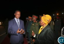 President Edgar Lungu returns home from India duty tour welcomed by Madam Inonge Wina, Vice President