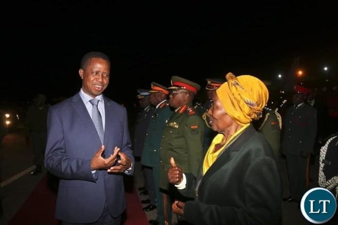 President Edgar Lungu returns home from India duty tour welcomed by Madam Inonge Wina, Vice President