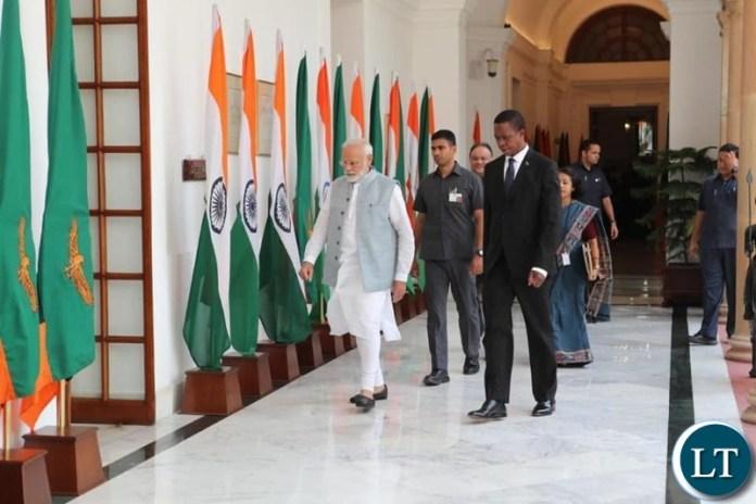 President Edgar Lungu with India's Prime Minister Narendra Modi
