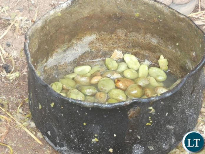 A pot of Baobab fruits being prepared for a meal