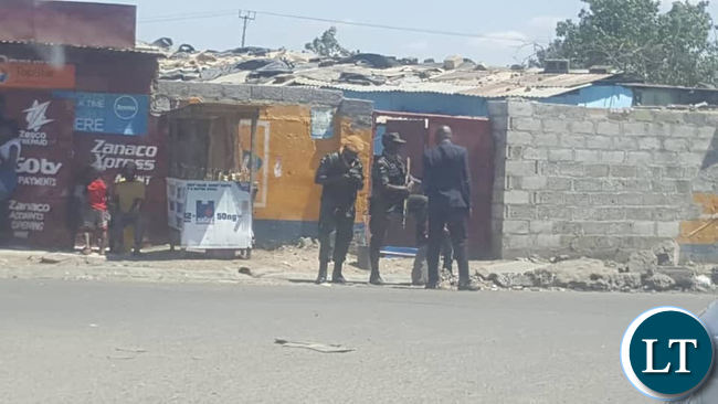 Police patrolling the streets in Chawama in Sunday