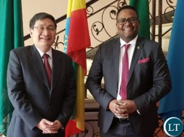 Zambia's Ambassador to Ethiopia, Mr. Emmanuel Mwamba with Chinese Head of Mission to the African Union, His Excellency, Mr. Lui Yuxi