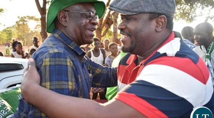 Minister of National Development Planning and Nkana MP Hon. Alexander Chiteme MP, campaigning for Patriotic Front (PF) candidate Mutende Kanyembo in the Samuteba Ward in Mwinilung'a District in North Western Province.