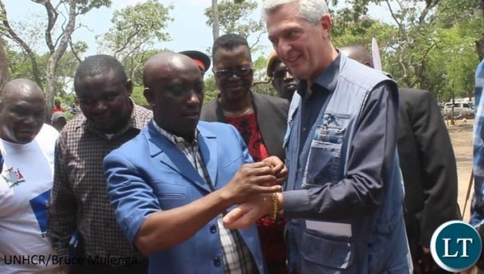 UN Refugee Chief Filippo Grandi being welcomed in Zambia