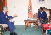 The President of the Republic of Zambia, His Excellency, Mr. Edgar Chagwa Lungu, and the UN High Commissioner for Refugees, Mr Filippo Grandi, holding talks at State House