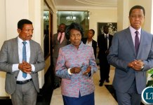 FROM RIGHT TO LEFT:President Edgar Chagwa Lungu,Vice-President Inonge Wina and Minister of Agriculture Michael Katambo during the Regional Cluster meeting on Economic Development and Job Creation at State House in Lusaka on Wednesday, October 16, 2019. PICTURE BY SALIM