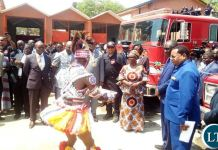 First Lady at the Fire Trucks Handover Ceremony