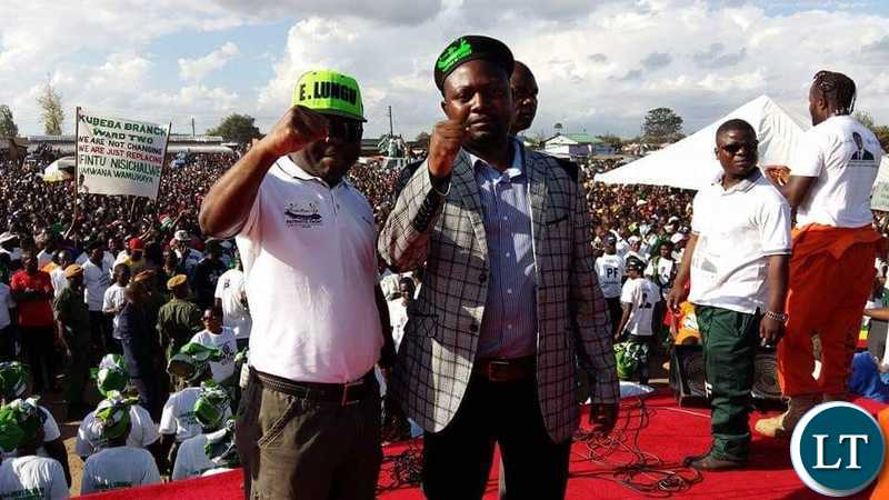 Lusaka Province Patriotic Front Youth Chairperson Daniel Kalembe and the PF members