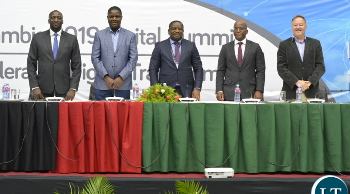 Patrick Mutimushi, Director General ZICTA, Yesa Bwalya, Director Communications - Ministry of Transport and Communication, David Kombe, Group CEO - StimuliPr, Ceaser Siwale, CEO - Pangea Securities and Brad Magrath, Chairman - Zambia Digital Summit