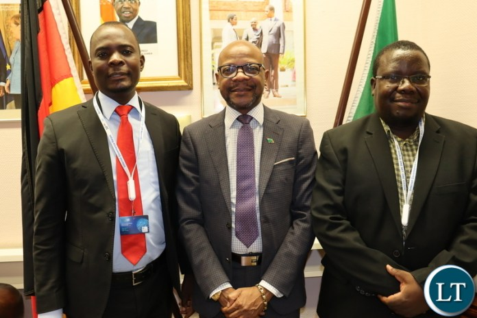 Hon Machila, Officer Ilishebo when they visited Ambassador Anthony Mukwita at the embassy of Zambia in Berlin on the side lines of the internet conference.