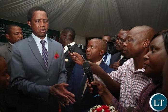 President Lungu Speaking to the media