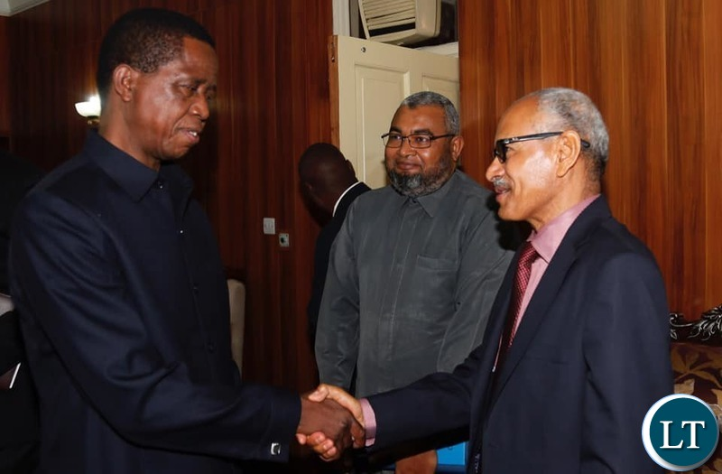 President Lungu with Sudanese Ambassador s to Zambia at State House this Morning