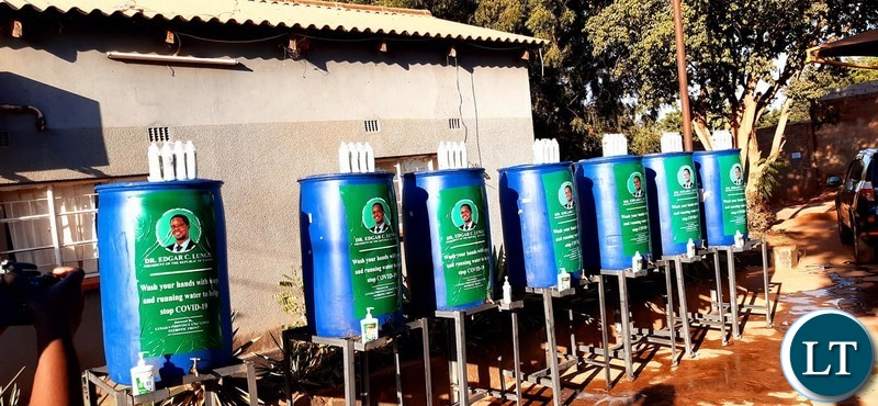The Branded Water containers donated by PF