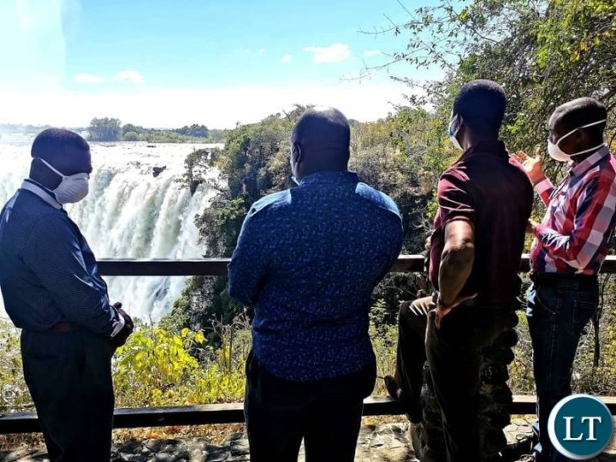 President Lungu and his team Touring the Victoria Falls