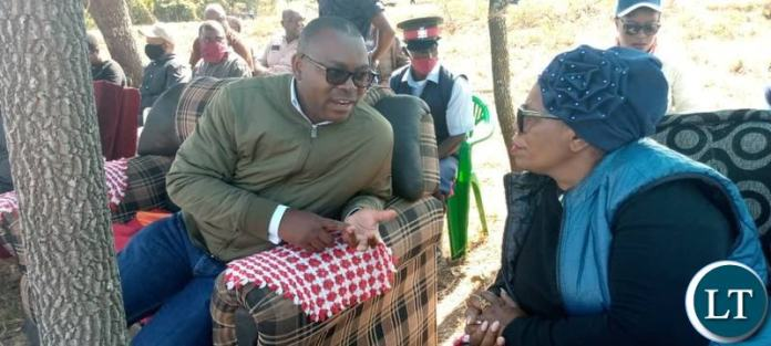 Livestock and Fisheries Minister Professor Nkandu Luo with Lunte Member of Parliament Hon Mutotwe Kafwaya at the Livestock handover Ceremony