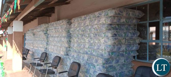 Part of the mattresses donated to Solwezi Technical School by Lusaka Province Minister Bowman Lusambo