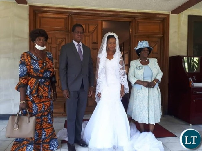 President Edgar  Lungu and Mrs Esther Lungu prepare to give out their daughter's hand in marriage to  Patrick Mwansa at this afternoon' Wedding Ceremony