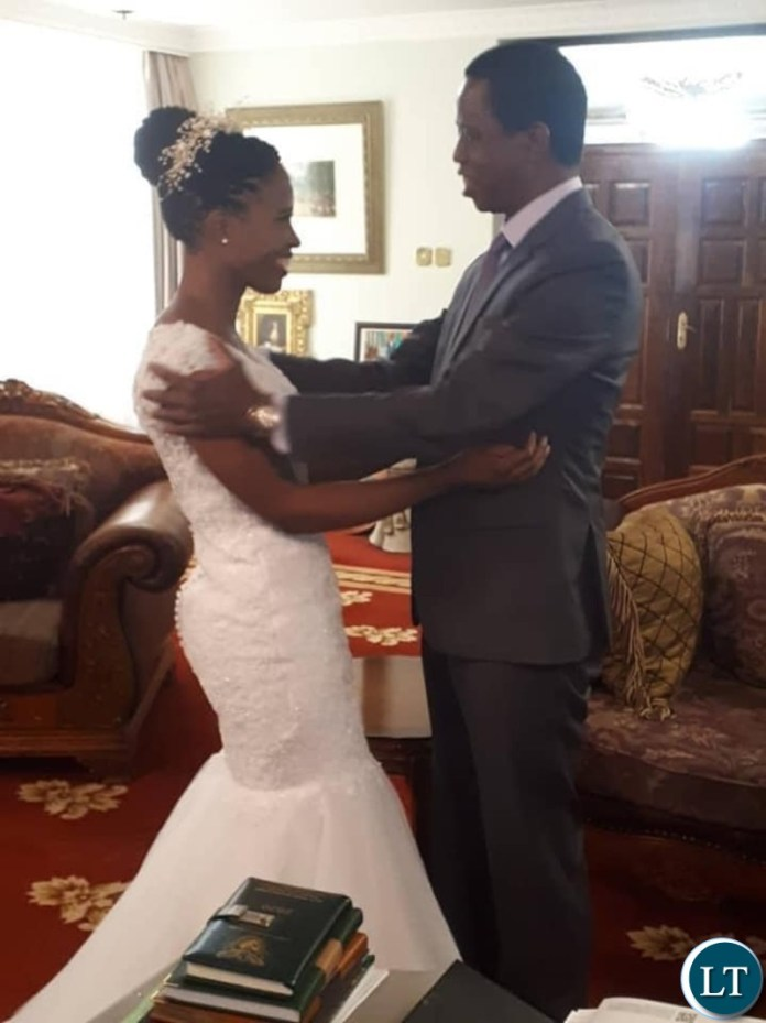 Father and Daughter having a last moment before the daughter's big Wedding day:President Lungu and  Daughter Tasila