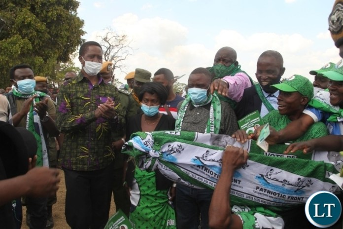 President Edgar Lungu arrives at Matipa school in Chilubi to drum up support for PF council chairperson candidate Rosemary Chimbini.