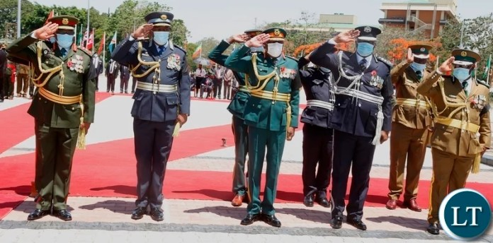 Service Chiefs give salute during the remembrance day at the national Cenotaph in Lusaka. Picture by SUNDAY BWALYA/ZANIS