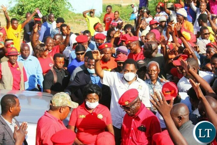 UPND President arrives for the Mobilsation Rally , with William Banda next to him