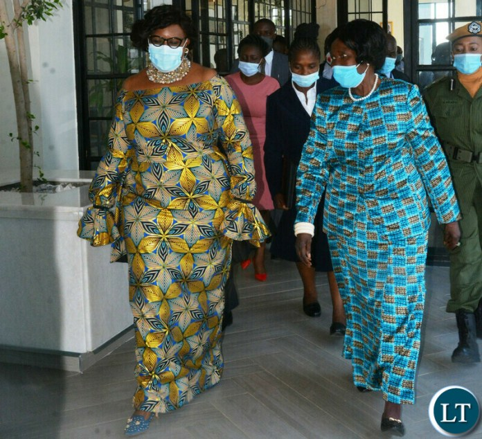 Vice-President Inonge Wina walks abreast with Minister of Information, Dora Siliya during the World Communication Forum -Africa in Lusaka.