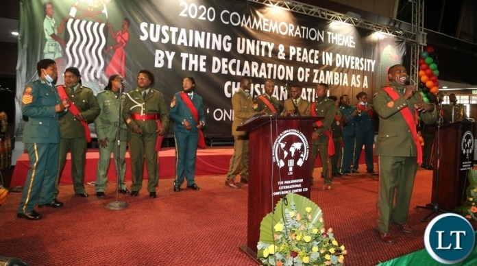 Defence and Security Choir singing during the commemoration of the declaration of Zambia as a Christian Nation at mulungushi international conference centre yesterday. Tuesday, December 29, 2020. Picture by ROYD SIBAJENE/ZANIS