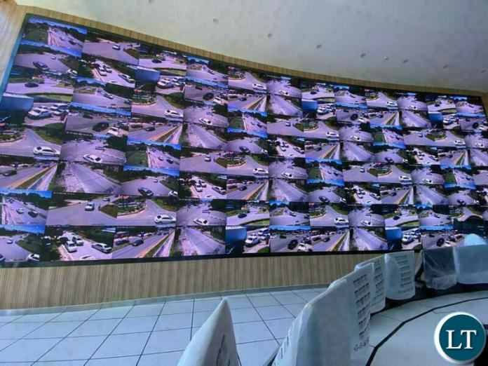 The Monitoring Cameras at the The Safe City National command centre in Lusaka,