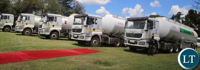 Government through the Ministry of youth and sports has purchased fuel tankers to empower youths, in the picture above, are the fuel tankers ready for distribution.Picture by SUNDAY BWALYA/ZANIS