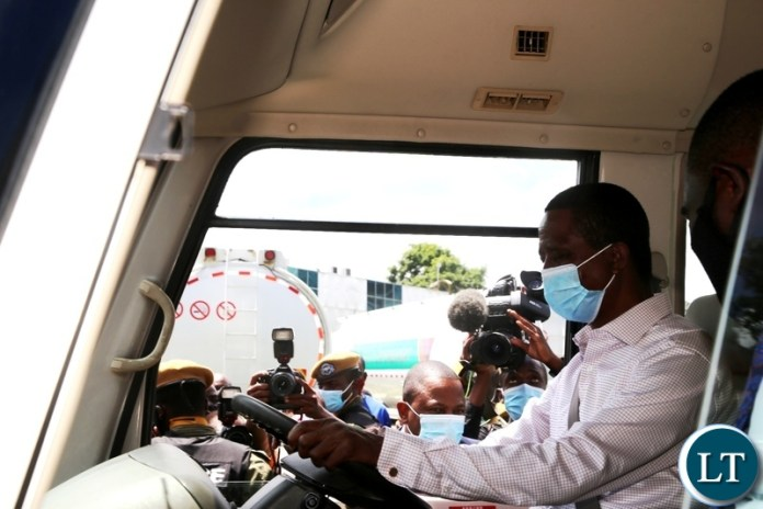 President Edgar Lungu samples one of the purchased Rosa Buses Government has bought for the youths during this year's youth day celebrations at Mulungushi Conference centre in Lusaka. Picture by SUNDAY BWALYA/ZANIS