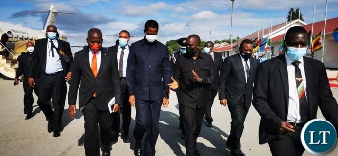 President Edgar Lungu arrives in Dodoma, Tanzania, to pay his last respect to Tanzania's late President John Pombe Magufuli