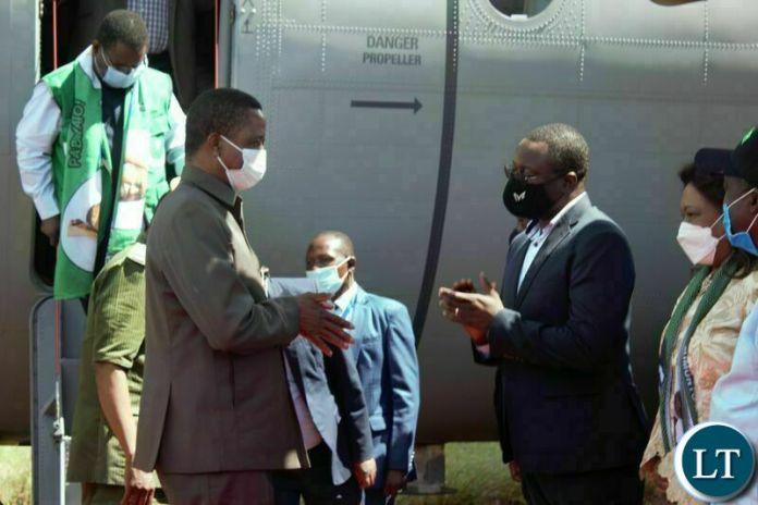 EASTERN Province Minister, Makebi Zulu, welcmes President Edgar Lungu at Chipata airport yesterday. PICTUE BY STEPHEN MUKOBEKO/ZANIS
