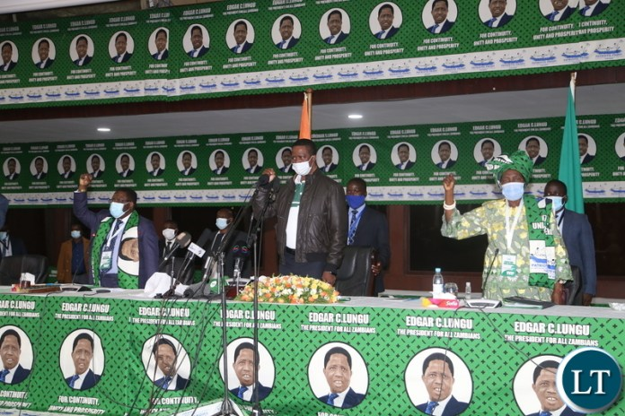 PF General Secretary Davis Mwila (r) during the Patriotic Front General Conference at Mulungushi Conference Center yesterday. April 10, 2021. Picture by ROYD SIBAJENE/ZANIS